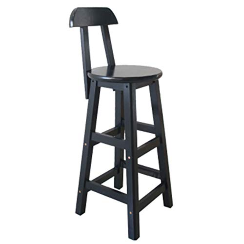 ☀ JBD Moderne Simple Chaise de Bar en Bois Massif Creative Design rétro Haut Tabouret café comptoir Cuisine Loisirs siège (Couleur : D, Taille : 60cm Seat Height)