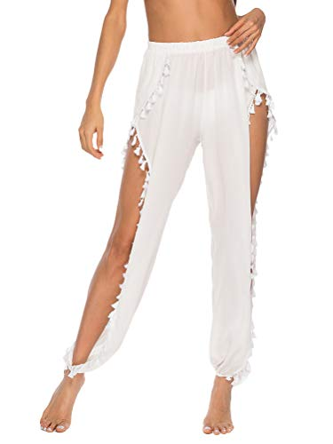 Minetom Mujer Trajes de Baño Bikini Cover Up Pantalones Cintura Alta Ahuecar Croché Cubrir Playa Yoga Pantalón F Blanco L