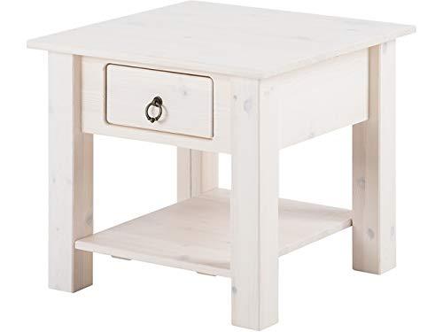 Loft24 Ilona Couchtisch weiß Landhaus Wohnzimmertisch mit Schublade Beistelltisch Sofatisch klein Nachttisch Kiefer Massivholz 50x50 cm