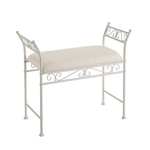 Banqueta pie de Cama de Metal y algodón Shabby Chic Blanca de 73x30x65 cm - LOLAhome