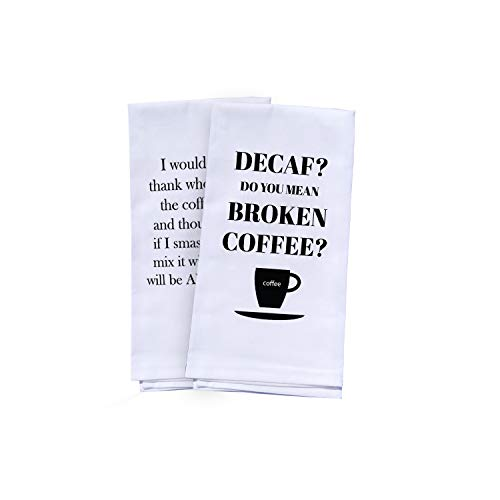 Coffee Gifts - 2 Funny Kitchen Towels - Cute Towels Set Kitchen or Bath | Funny Dish Towels | White Hand Towels for Housewarming Gift Christmas Gift Birthday Gift Man or Woman