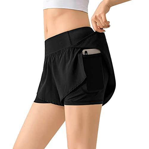 QRTU Pantalones cortos deportivos para mujer, para verano, fitness, jogging, entrenamiento, gimnasio, correr, tiempo libre, elásticos. B-negro. L