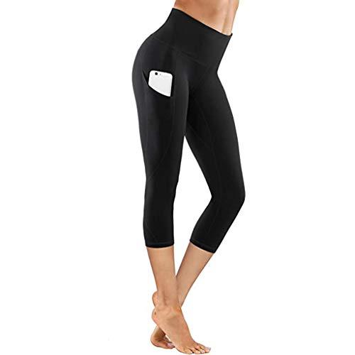 Shinehua Dames Short Sport Leggings hoge taille tights 3/4 yogabroek ondoorzichtig korte loopbroek fitness broek joggingbroek met zakken