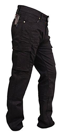 SGI-BIKE Herren Dupont™ Kevlar® Motorrad Jeans Hose Motorradjeans mit 4X Protektoren (Cargo Black) (W38/L33)
