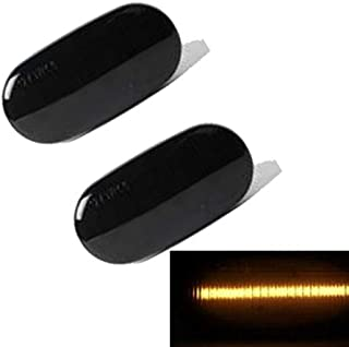 Dynamic Amber Led Side Marker Light, Car Work Box Turn Signal Sequential Blinker Light Black Smoked Lens Lamps for Audi A3 A4 A6 S4 S6 RS4 RS6, Replace OEM Side Marker Light (2 Pack)
