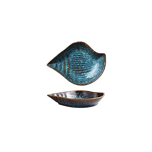 YSJJPQC Plato de Cena Flores de Placa de cerámica Irregulares/Hojas/vieiras/Estrellas de mar/caracola/de Pescado Forma de Peces Vajilla Decorativa Placas de Cena Platos de Sushi Plato