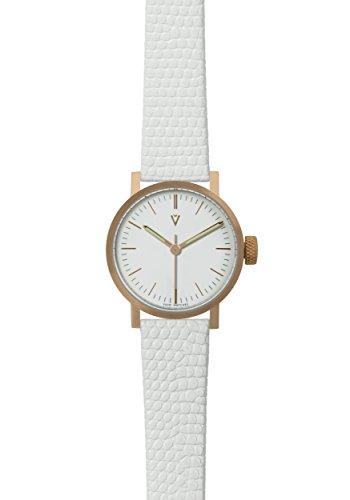 V03P Petite Small Analog Watch by Void Watches (Style: Cobre Carcasa & Esfera Blanca/Correa de Piel Blanco