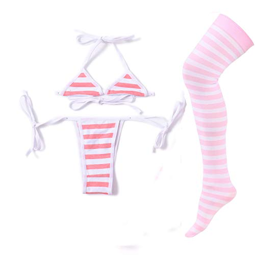 Sexy Lingerie Set for Women with Striped Thigh High Socks Japanese Anime Bikini, Mini Pink White Stripe, Medium