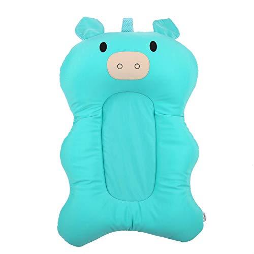 Tapete para bañera para bebé, agradable para la piel, el bebé no se hunde, tapete para baby shower(Light green piglet)