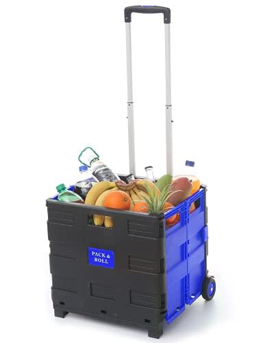 Praknu Carretilla con Caja de Transporte - 2 Ruedas - hasta 35 kg de Carga - Asa de Aluminio Extensible - Multiusos - Color Azul