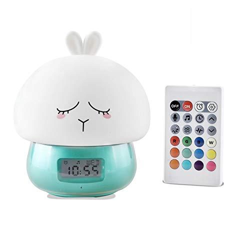 BianchiPamela Cartoon Alarm Clock Wake Up Night Light Remote Control Desktop Recording Light
