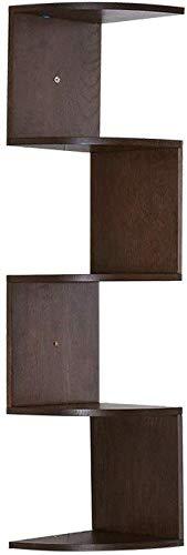 YLCJ Wandrek, drijvend, wandrek, van massief hout, Zig Zag Hoekplank, Wandplank, 5 niveaus, zwevende planken, voor de weergave van boeken, Decoratie (kleur: hout) Walnoot Kleur