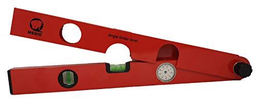 Medid MD/480000 Escuadra aluminio analógica, rango de medición de 0-220 grados, nivel analogico buscador de angulos, medidor de angulos de Precisión 0,5 grado