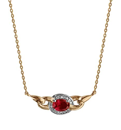 Ah! Jewellery Gift Boxed Gold Filled Oval Ruby Cushion Crystal Necklace, Stamped GL.