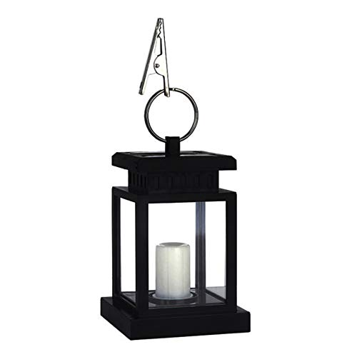 Seagomall Decorative Candle Lanterns, Solar Lantern, Outdoor Garden Hanging Lantern-Waterproof LED Flickering Flameless Candle Mission Lights for Table, for Indoor Outdoor Use