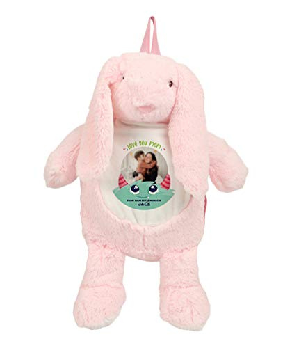 Personalised With Any Image/Text Love You Mom from Your Little Monster for Godmother, Mummy, Nanny, Grandma, Teddy Bear Plush Soft Toys. (Bunny Backpack)