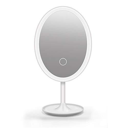 Kosmetikspiegel Ovaler Kosmetikspiegel mit LED-Leuchten Wiederaufladbare Touchscreen-Lichtsteuerung 360-Grad-Drehung Tischkosmetikspiegel Reiseschönheitsspiegel USB-Kabel Kosmetikspiegel Lichter porta