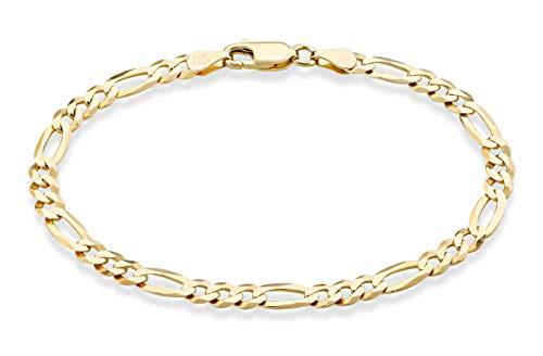 "MiaBella Solid 18K Gold Over Sterling Silver Italian 5mm Diamond-Cut Figaro Chain Bracelet for Women Men, 6.5"", 7"", 7.5"", 8', 9' 925 Italy (7.5 Inches (6.5'-6.75' wrist size))"