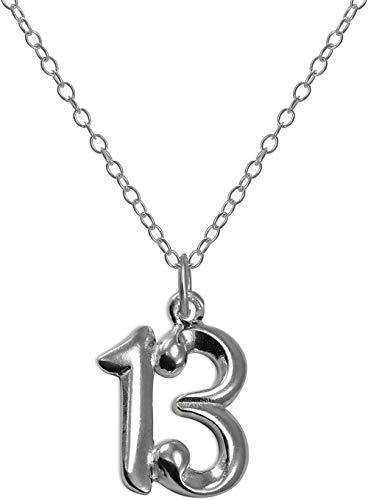 MNMXW Colgante de Plata esterlina número 13 con Cadena de 14-22 Pulgadas