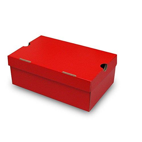 靴箱[N式タイプ] NO2(310×200×120) 赤 75枚セット (シューズボックス ダンボール 段ボール 靴収納ボックス 1足用)