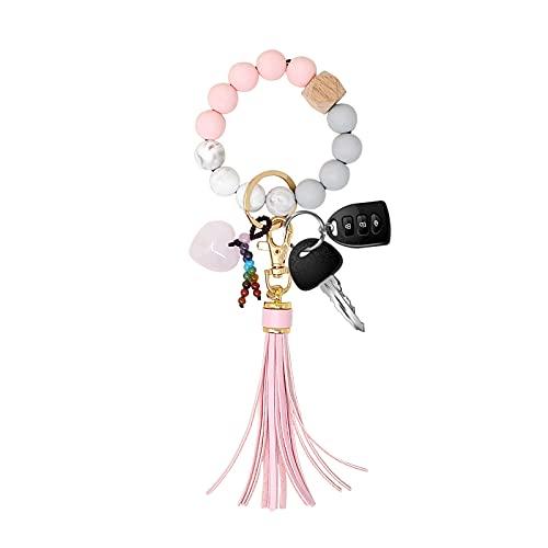Armband nyckelring pärlarmband armband färgglad nyckelring armband vit kärlek hjärta e Zink, colore: W4671-Rosa