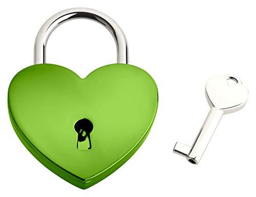 Liebesschloss In Herzform ♥ | Herzschloss Mit Schlüssel & Samtsäckchen Als Liebesgeschenk | Grün | Ohne Gravur