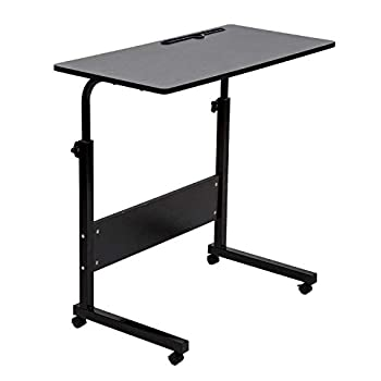 SIDUCAL Tray Table Adjustable Sofa Side Bed Table Portable Desk with Wheels Overbed Table Laptop Cart Black 31.5 x 15.7 in Desktop