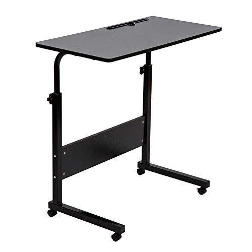 SIDUCAL Tray Table, Adjustable Sofa Side Bed Table Portable Desk with Wheels Overbed Table Laptop Cart, Black, 31.5 x 15.7 in Desktop