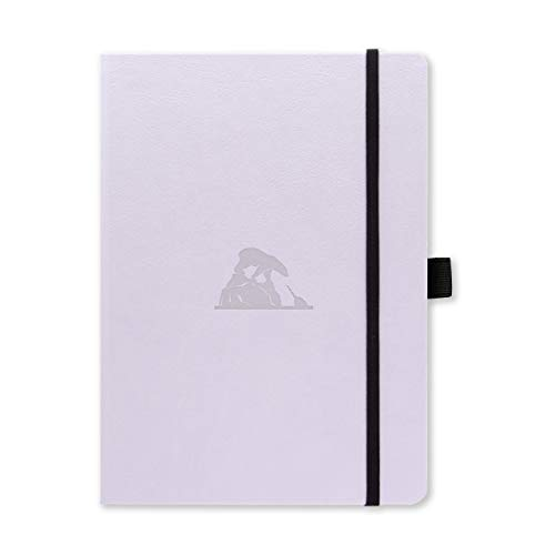 Dingbats Earth Dotted Medium A5+ Hardcover Journal - PU Leather, FP Proof 100gsm Coated Cream Paper, Numbered Pages, Inner Pocket, Elastic Closure, Pen Holder, 2 Bookmarks (Glicine Arctic)