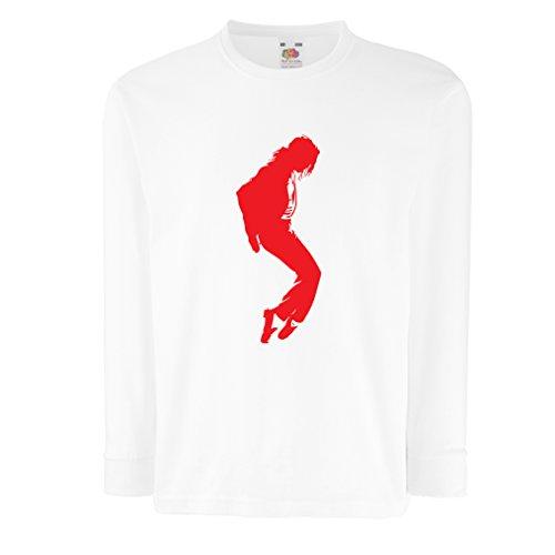 Kinder-T-Shirt mit Langen Ärmeln Ich Liebe MJ - Fanclub Kleidung, Konzert Kleidung (12-13 Years Weiß Rote)