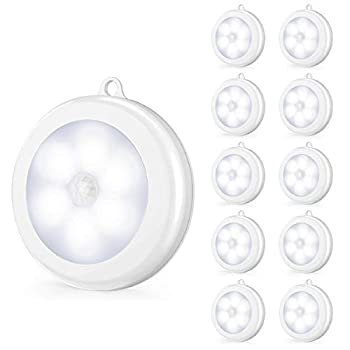 Upgraded Motion Sensor LED Night Light Non-Fall Cordless Battery-Powered Wall Light Stick-on Magnet Closet Lights Safe Lights for Stairs Hallway Bathroom Kitchen Cabinet  Pack of 10 White