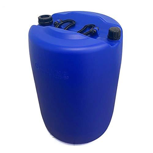Fusto in plastica (HDPE) cilindrico, capacità 60 Lt, Mis. Ø 476 x 640 H mm, omologato ADR/ONU per liquidi, con tappi a vite (inclusi), colore blu (60 Lt - Blu)