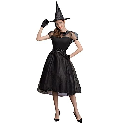 PEKLOKIW Corsé gótico de cintura larga con blusa mini corsé corto Halloween fiesta Steampunk, mujer Halloween Cosplay rojo vestido de bruja estampado gótico (negro-A, XL)