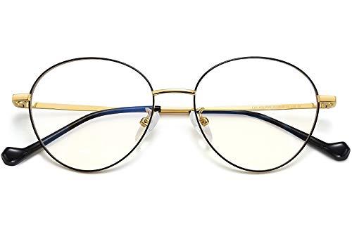 Joopin Gafas Luz Azul Mujer y Hombre para Ordenador Lentes Antireflejantes con Filtro de Luz Azul sin Graduación Montura Redonda de Metal