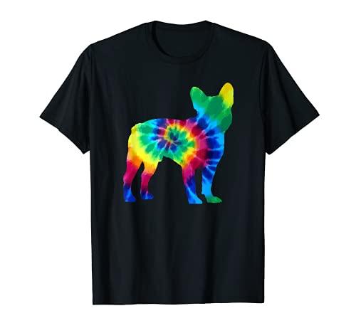 French Bulldog Tie Dye Vintage Hippie Dog Mom Dad Frenchie T-Shirt