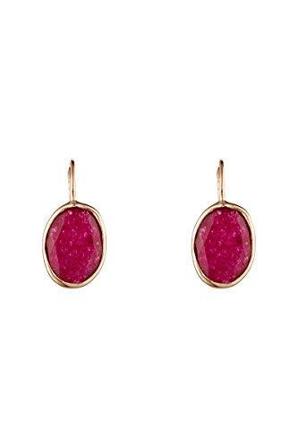 Córdoba Jewels   Pendientes en plata de Ley 925 bañada en oro rosa con piedra semipreciosa. Diseño Oval Frambuesa Hippie Oro Rosa
