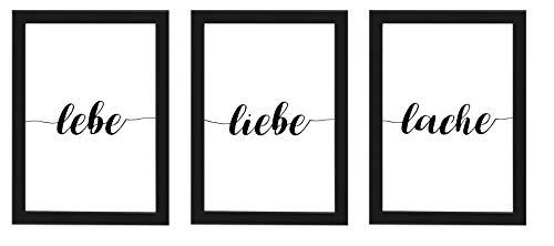 PICSonPAPER Poster 3er-Set lebe, Liebe Lache, ungerahmt DIN A4, Dekoration, Kunstdruck, Wandbild, Typographie, Geschenk (Schwarz gerahmt DIN A4)