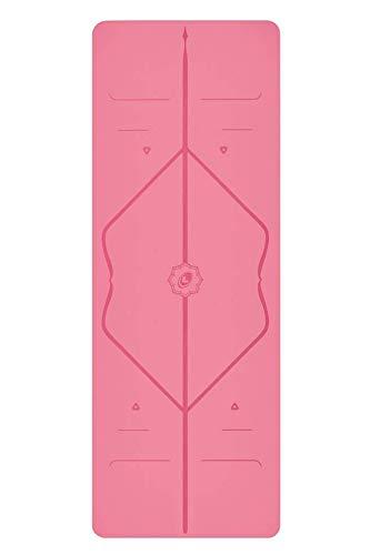 Liforme Yogamatte - umweltfreundlicher Gummi - Rosa - Yoga Fitness Matte - mit Yogatasche
