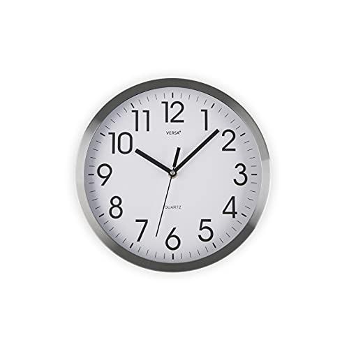 Versa Enkel Horloge Murale silencieuse décorative pour la Cuisine, Le Salon, la Salle à Manger ou la Chambre, Style Moderne, 20 x 4,1 x 20 cm, Aluminium, Blanc et argenté