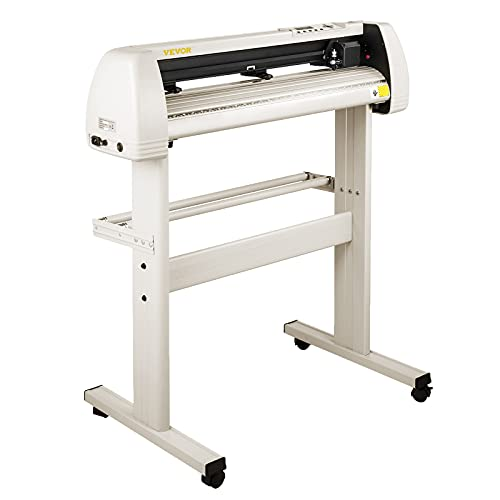 VEVOR Vinyl Cutter Machine, 28 Inch Paper FeedCutting Plotter Bundle, Adjustable Force & Speed Vinyl Printer, LCD Display Windows Compatible Sign Making kit w/Signmaster, Stand, Supplies, 20 Blades