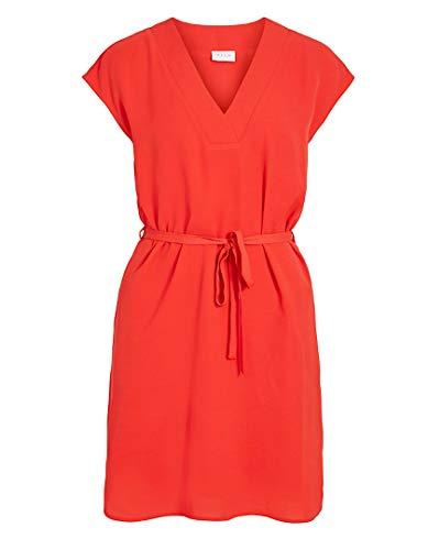 Vila Clothes Damen VIJAHULA S/S Belt Dress/SU Kleid, Flame Scarlet, 36