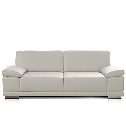 CAVADORE 2,5-Sitzer Sofa Corianne in Kunstleder / Kleines Sofa in hochwertigem Kunstleder und modernem Design /Mit Armteilverstellung / 191 x 80 x 99 / Kunstleder weiß