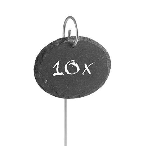 Hoberg Schiefer-Pflanzschilder | Witterungsbeständig, Wiederverwendbar | Individuelles Kennzeichnen von Pflanzen und Kräutern | 9 x 7 x 0,5 cm - 10er Set [Oval]