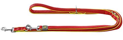 HUNTER MAUI Verstellbare Führleine für Hunde, Mesh-Material, weich, leicht, robust, 2,0 x 200 cm, rot