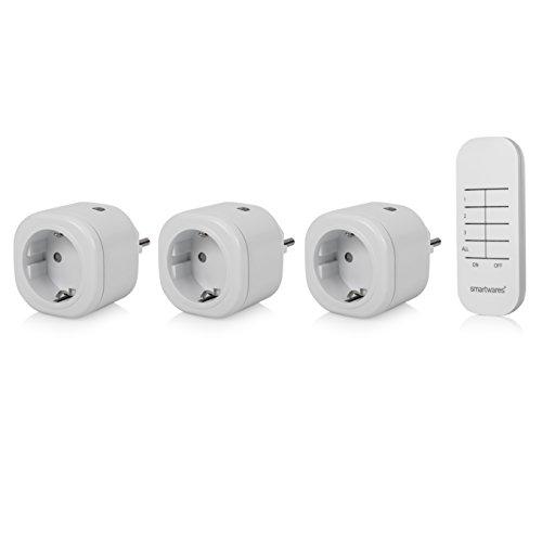 Smartwares SH4-99553 Mini Funksteckdosen-Set indoor, 3x Funkschalter-Steckdosen inkl. Fernbedieung