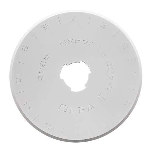 OLFA 45mm Rotary Cutter Replacement Blades, 10 Blades (RB45-10) - Tungsten Steel Circular Rotary Fabric Cutter Blade for Quilting, Sewing, and Crafts, Fits Most 45mm Rotary Cutters