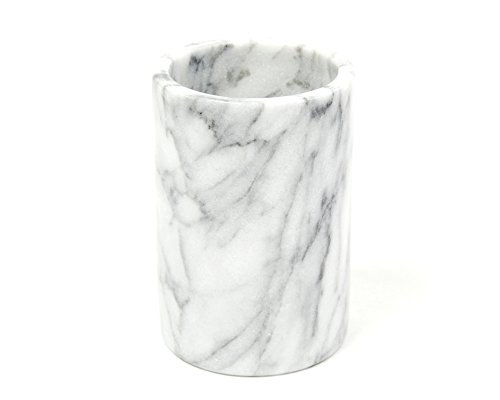 Creative Home Natural Marble Wine Cooler Champagne Chiller Bucket Tool Crock Utensil Holder Kitchen Countertop Organizer, Off-White (patterns may vary)