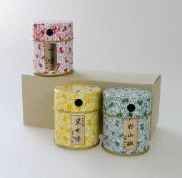 京都限定 祇園 原了郭 薬味缶セット(黒七味・一味・粉山椒 各5g)