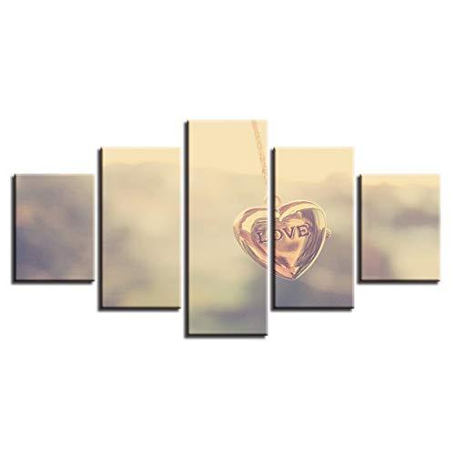 ZYBKOG Leinwandbild 5 Kunst Bilder 5 Stücke Herzförmige Halskette Anhänger Brief Liebe Leinwand...