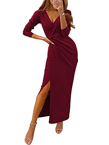 Aststle Vestiti della Sera e Cerimonia da Donna Abito da Cerimonia Donna in Chiffon Damigella Vestito Lungo Elegante Festa (Wine Red, Medium)